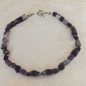 Jewelry - Handcrafted amethyst necklace w silvertoned beads